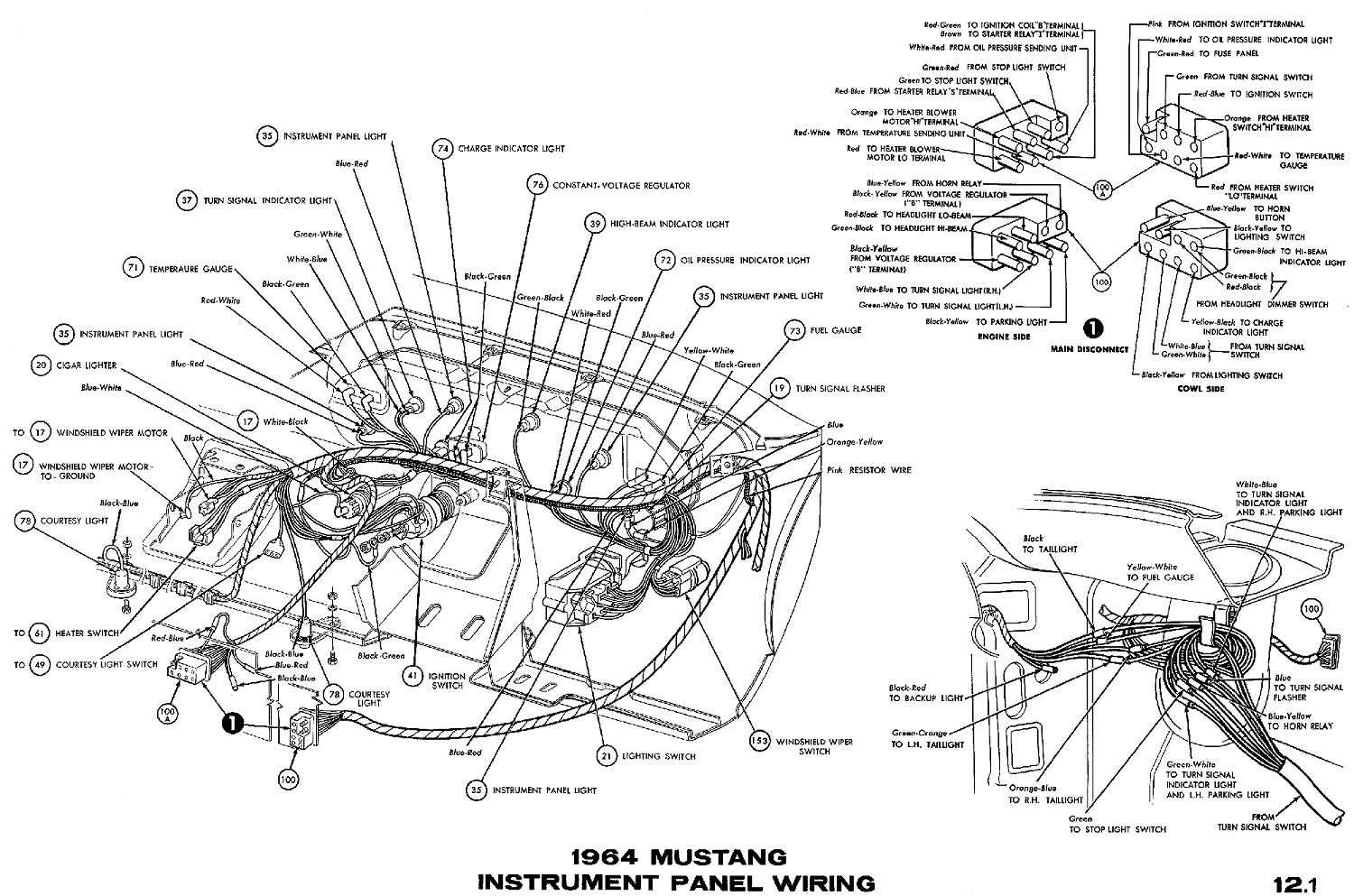 1966 Mustang Dash Light Wiring Diagram Trusted 94 1964 Instrument Panel