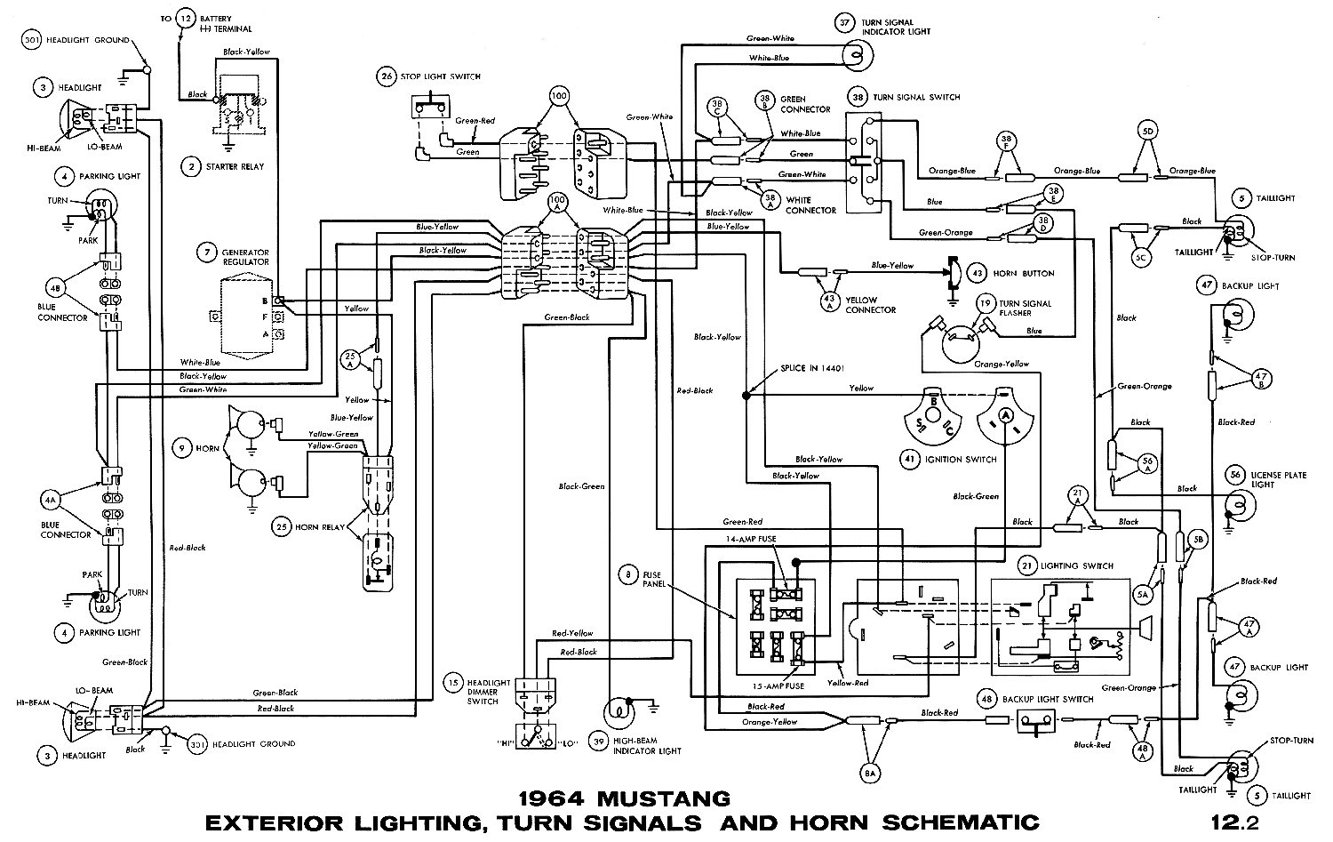 1964½ Mustang - Exterior Lightning, Turn Signals and Horn Schematic