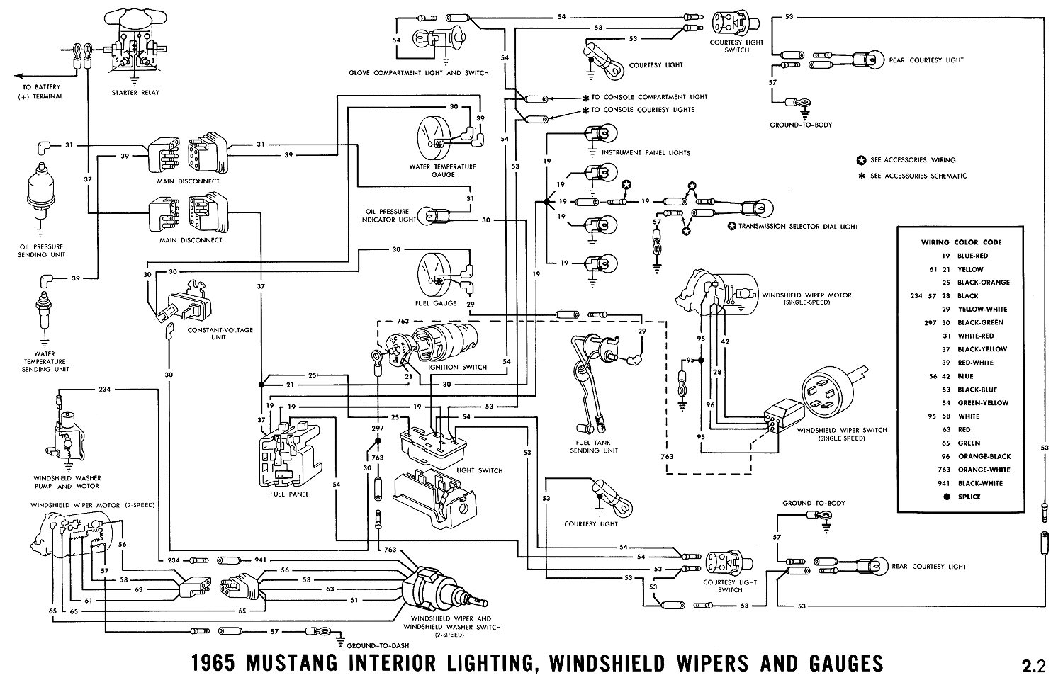 El Ritningar 1990 Mustang 5 0 Engine Wiring Diagram 1965 Interior Lightning Winshield Wiper And Gauges Schematic