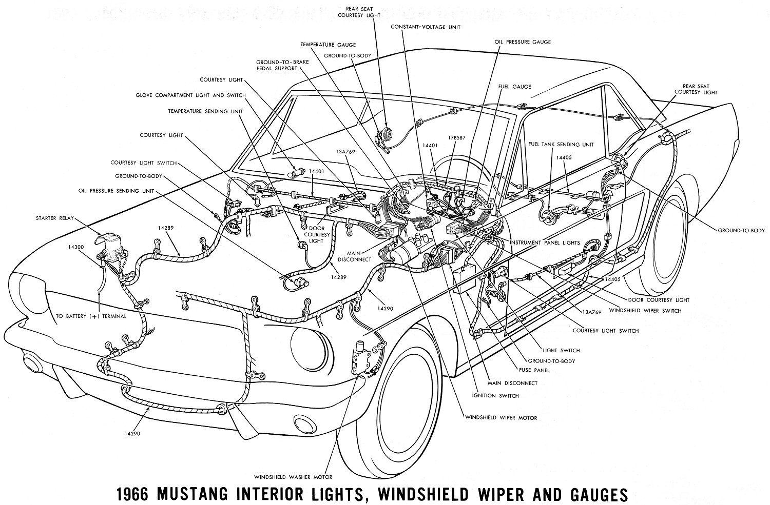 El Ritningar 1968 Mustang Air Conditioning Wiring Diagram 1966 Interior Lights Windshield Wiper And Gauges Schema