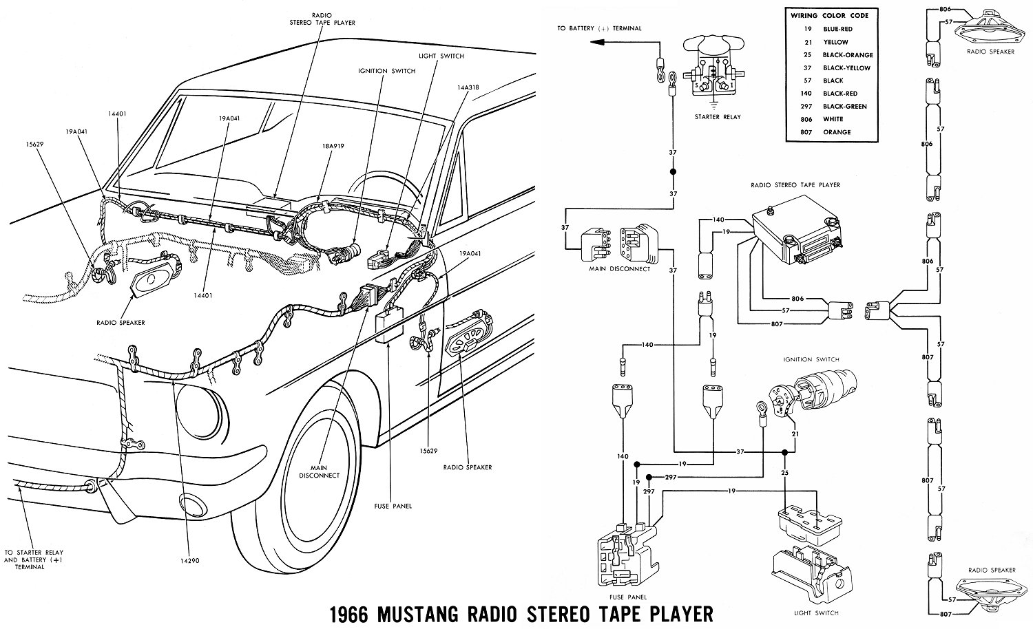 Stereo on 1968 Mustang Ignition Switch Wiring Diagram