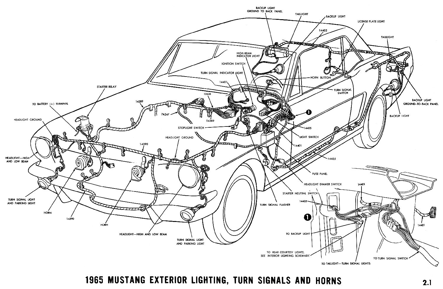 1965 Mustang Horn Relay Wiring Trusted Diagram Ford Harness Exterior Lightning And Turn Signals
