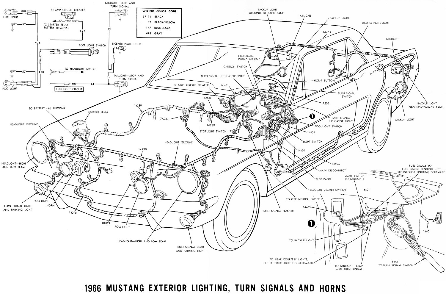 El Ritningar 1967 Chevelle Ss Wiring Diagram Schematic 1966 Mustang Exterior Lighting Turn Signals And Horns Schema